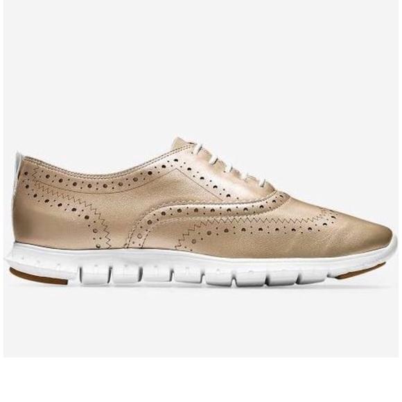 9d2d6f3355 Cole Haan Shoes | Zerogrand Gold Wingtip Oxford Sneaker | Poshmark
